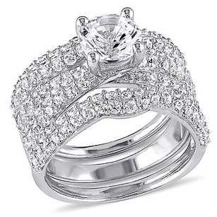 Amour Sterling Silver Created White Sapphire Three Piece Bridal Ring Set