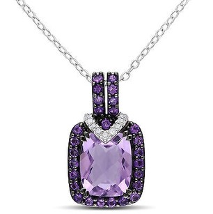 Amour Sterling Silver Ct Tgw Amethyst And Diamond Accent Pendant Necklace 18