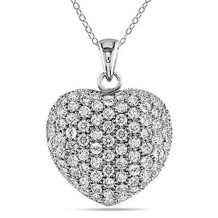 Amour Sterling Silver Cubic Zirconia Heart Love Shape Pendant Necklace