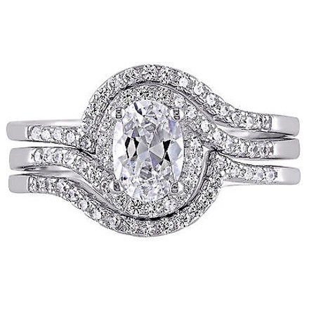 Amour Sterling Silver Cz 3-piece Engagement Promise Solitaire Vintage Bridal Ring Set