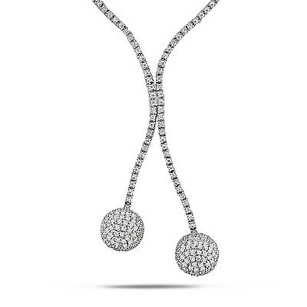 Amour Sterling Silver Cz Ball Necklace 17 Pressure Clasp With Double Saftey Catches