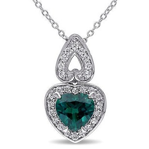 Amour Sterling Silver Emerald And Created White Sapphire Heart Pendant Necklace 18