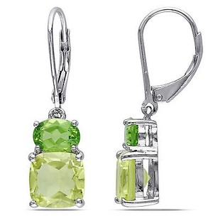 Amour Sterling Silver Lemon Quartz Peridot Two Stacked Stones Earrings 5.94 Ct Cttw