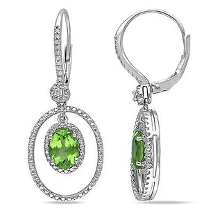 Amour Sterling Silver Peridot 18 Ct Tdw Diamond Dangle Leverback Earrings G-h I2-i3