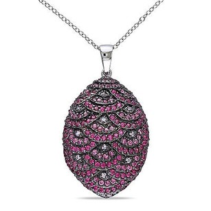 Amour Sterling Silver Pink And White Cubic Zirconia Pendant Necklace 18