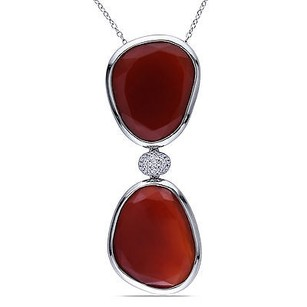Amour Sterling Silver Red Onyx And Created White Sapphire Pendant Necklace 18