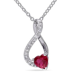 Amour Sterling Silver Ruby And Diamond Accent Infinity Heart Pendant Necklace 18