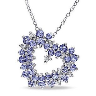 Amour Sterling Silver Tanzanite 18 Ct Tdw Diamond Heart Pendant Necklace H-ii3 18