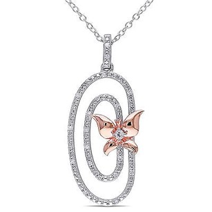 Amour Sterling Silver Topaz 110 Ct Tw Diamond Butterfly Circle Pendant Necklace 18