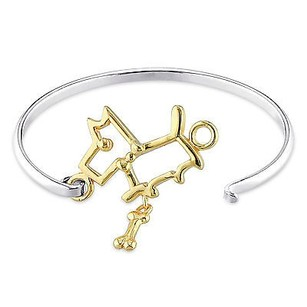 Amour Two-tone Sterling Silver Dog Bangle Bracelet 6