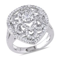 Amour White Goldplated Sterling Silver Cubic Zirconia Fashion Cocktail Ring 1.37 Ct Tw
