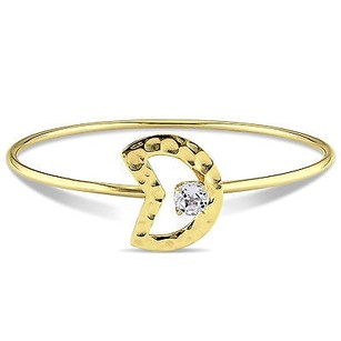 Amour Yellow Sterling Silver 1 Ct White Topaz Moon Bangle Bracelet 8
