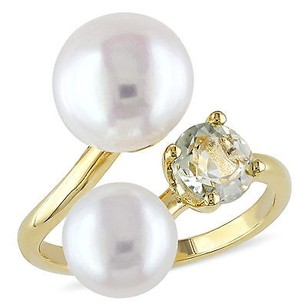 Amour Yellow Sterling Silver Freshwater White Pearl And Green Amethyst Ring