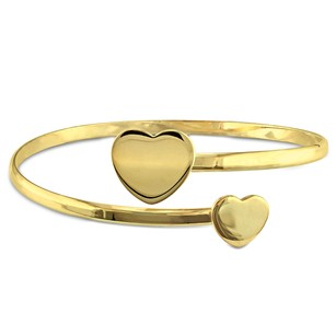 Amour Yellow Sterling Silver Heart Cuff Bangle Bracelet 7