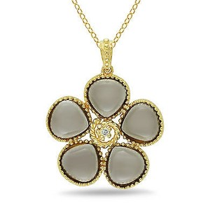 Amour Yellow Sterling Silver Smokey Quartz And Diamond Accent Pendant Necklace 18