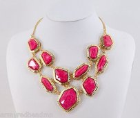 Amrita Singh Amrita Singh Fuschia Resin Wainscott Real Housewives Bib Necklace Nkc 76