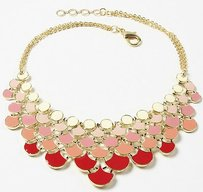 Amrita Singh Amrita Singh Gold Tone Cream Red Ombre Enamel Bib Necklace Nkc 9914