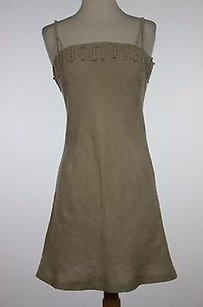 Andrea Rosati Womens Solid Sleeveless Linen Blend Sheath Dress