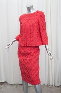 Andrew Gn Andrew Gn Womens Red Linen Cotton Lace Jacket Blazer 408skirt 4210 Suit