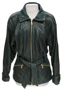 Andrew Marc Leather Belted Motorcycle Jacket