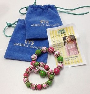 Angela Moore Angela Moore White Pink Green Hand Painted Stretchy Bead Bracelet Set B2665