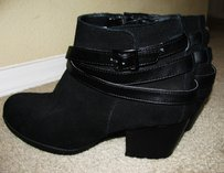 ANKLE BOOTS Suede Leather Ankle Womens BLACK Boots