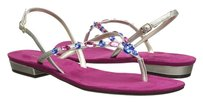 Ann Marino Jewel Studded pewter Sandals