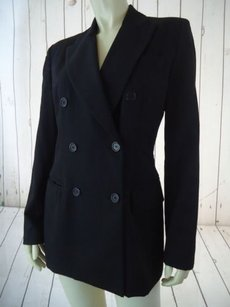 Ann Taylor Ann Taylor Blazer Black Wool Gabardine Double Breasted Pockets Lined Classy