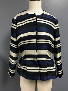 Ann Taylor Ann Taylor Blue Ivory Hidden Button Stripe Long Sleeve Peplum Blazer Sm2789