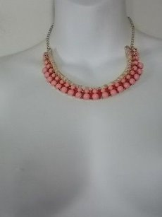 Ann Taylor Ann Taylor Loft Pink Bead Gold Chain Beige Red Rope Bib Necklace