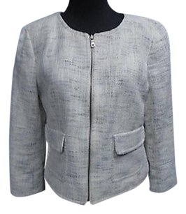 Ann Taylor Ann Taylor Off White Blue Checked Lined Zip Front Blazer Jacket 4713a
