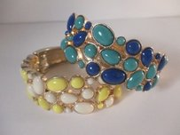 Ann Taylor Banana Rrepublic Blue Yellow Cabochon Gold Cuff Set Of