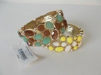 Ann Taylor Banana Rrepublic Brown Teal White Yellow Cabochon Gold Cuff Set Of