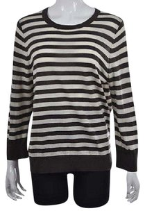 Ann Taylor Womens Brown Crewneck Striped Wool Casual Sweater