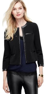Ann Taylor Leather Edgy Chic Faux Leather Classic Black Jacket