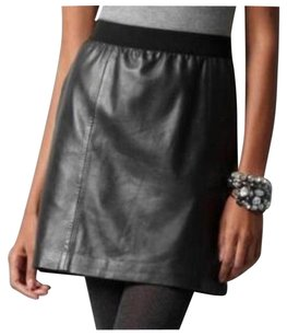 Ann Taylor Leather Leather Mini Skirt Black