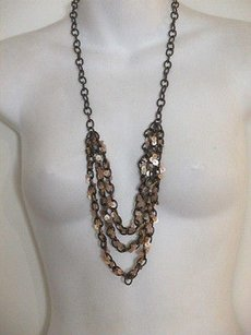 Ann Taylor LOFT Ann Taylor Bronze Tiered Sequin Layered Necklace