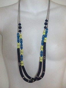 Ann Taylor LOFT Ann Taylor Loft Silver Snake Blue Ylw Bead Slvr Long Necklace Set Of