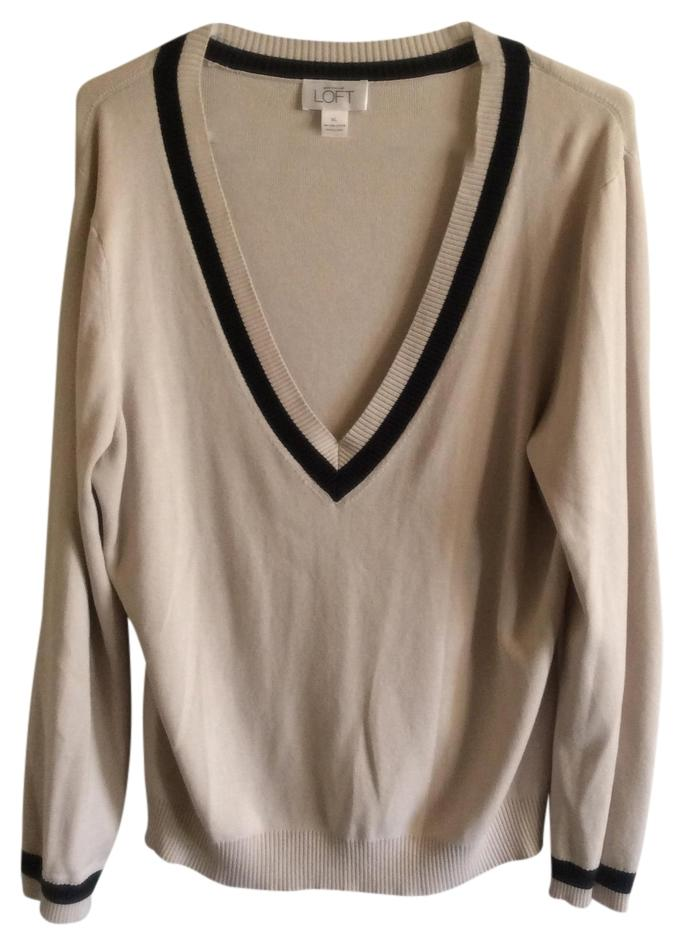 Ann Taylor Loft Beige And Blue V Neck Sweaterpullover Size 16 Xl