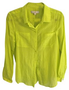 Ann Taylor LOFT Button Down Shirt Lime Green