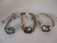 Ann Taylor LOFT Lot Of Ann Taylor Tan Woven Grey Stone Toggle Bracelet Ea