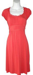 Ann Taylor LOFT short dress Tomato Shirred Scoop Neck Ruched on Tradesy