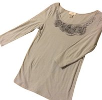 Ann Taylor LOFT Flower Front Long-sleeve Top gray