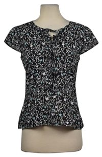 Ann Taylor LOFT Womens Floral Cap Sleeve Cotton Shirt Top Black