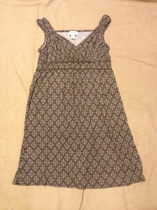 Ann Taylor LOFT short dress BROWN WHITE MEDALLION PRINT V-neck Preppy Classic on Tradesy
