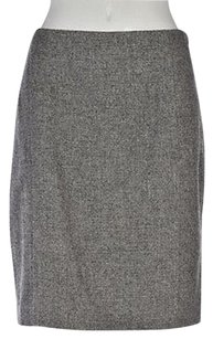 Ann Taylor Petite Womens Gray Speckled Pencil 12p Wool Knee Length Skirt Multi-Color