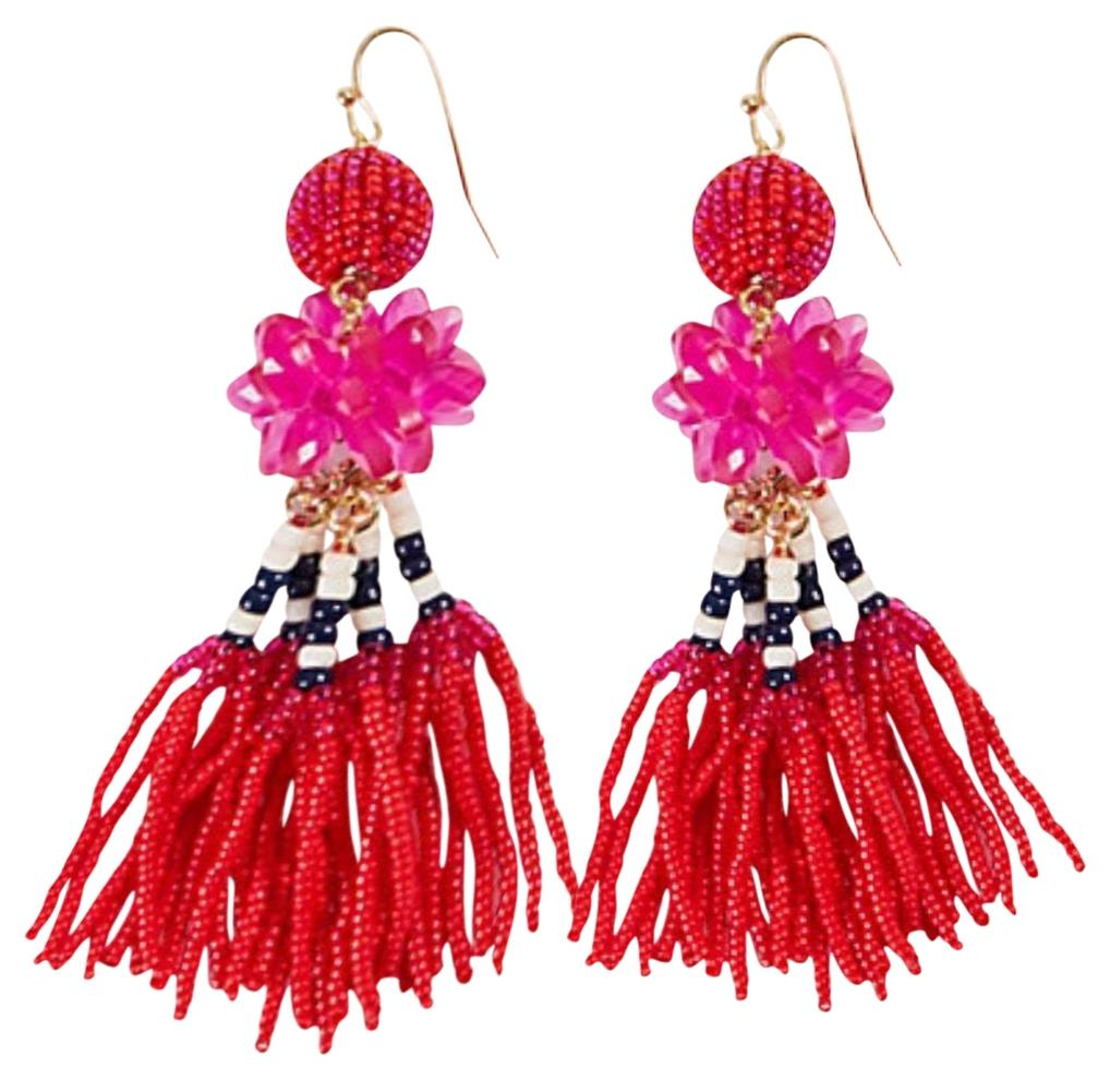ANN TAYLOR Seed Bead Tassel Statement Drop Earrings WFS7oe