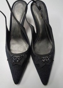 Ann Taylor Pointed Toe Slingback Slim Low Heels Synthetic B3238 Gray Pumps