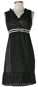 Anna Sui Crochet Lace Trim Ruffle Belted Dress