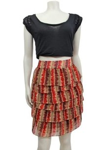 Anna Sui For Anthropologie Skirt Red/beige/plum.
